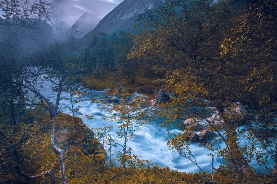 Istra river in gloom, Mid Norway
